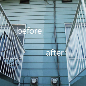 House exterior washing - before and after