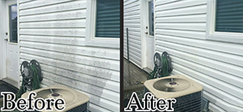 pressure washed house siding - before and after